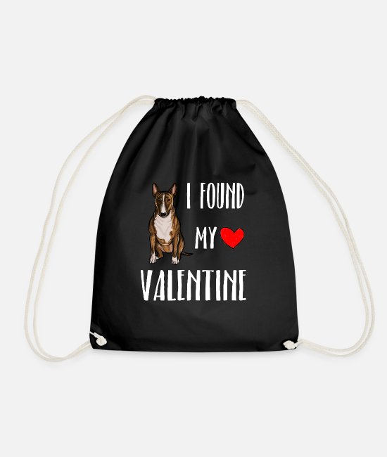 Lover Bags & Backpacks - I Found My Valentine Day Miniature Bull Terrier Do - Drawstring Bag black