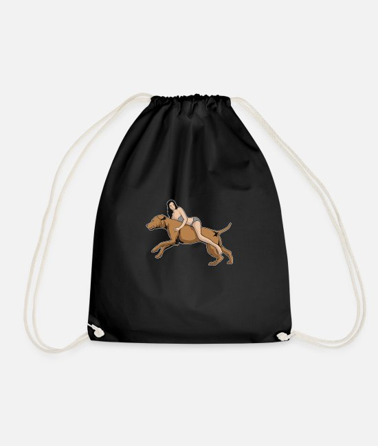Hipster Bags & Backpacks - Dog riding woman - Drawstring Bag black