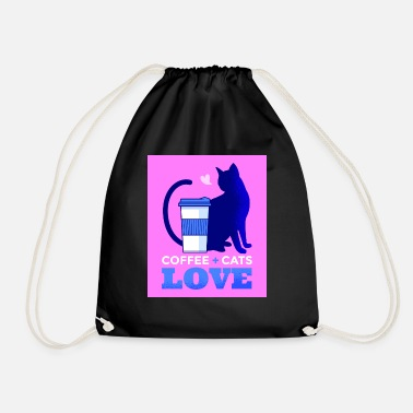Coffee cat pink - Drawstring Bag