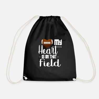 Running Group Football T Shirt - My Heart Is On That Field - Drawstring Bag