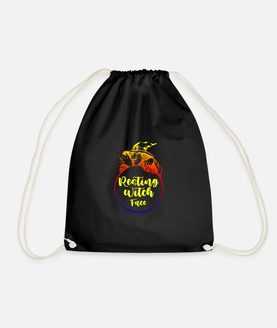 Magic Bags & Backpacks - Resting witch face, gifts for halloween - Drawstring Bag black