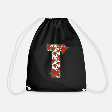 Initial Rose Lettre T Initial Flower Style Design Cool Gif - Sac à dos cordon