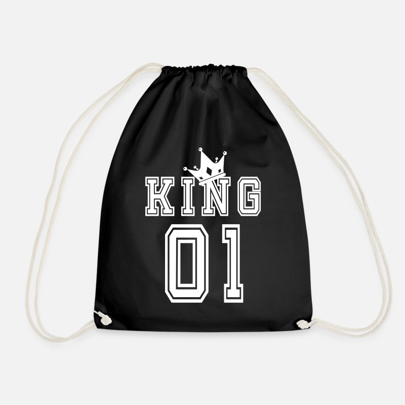 King Bags & Backpacks - Valentine's Day Matching Couples King Jersey - Drawstring Bag black