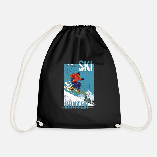 Gift Idea Bags & Backpacks - SKI WINTER - Warm gift for winter vacation - Drawstring Bag black