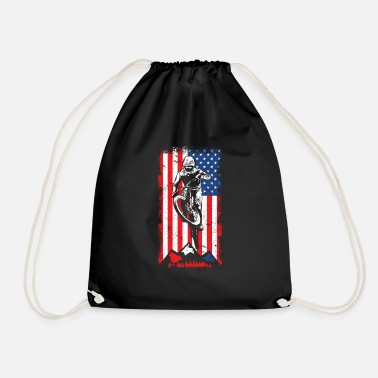 Hiking Funny Mountain Biking 4th of July America USA - Drawstring Bag