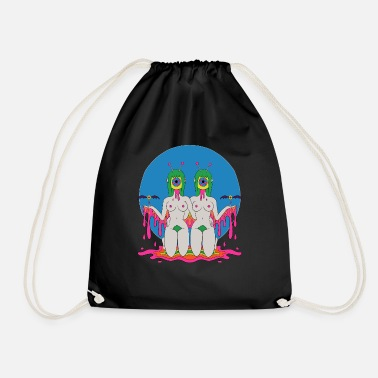 Festival Psychedelic Hippie Trippy Colorful Festival Gift - Drawstring Bag