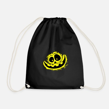 Carved Halloween yellow and black outline - Drawstring Bag