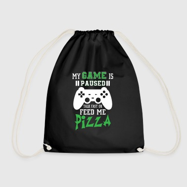 My game is paused feed me pizza - Drawstring Bag