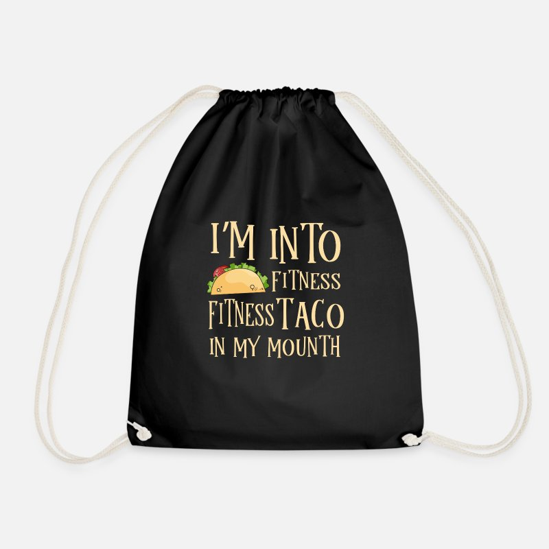 Mexican Bags & Backpacks - Fitness Taco in my Mouth - gym tex mex - Drawstring Bag black