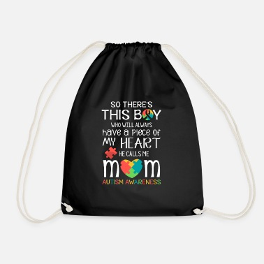 This boy piece of my heart - Autism Awareness  - Drawstring Bag