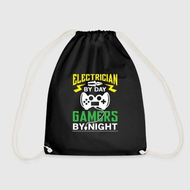 Electrician by Day Gamers by Night - arcade player - Drawstring Bag
