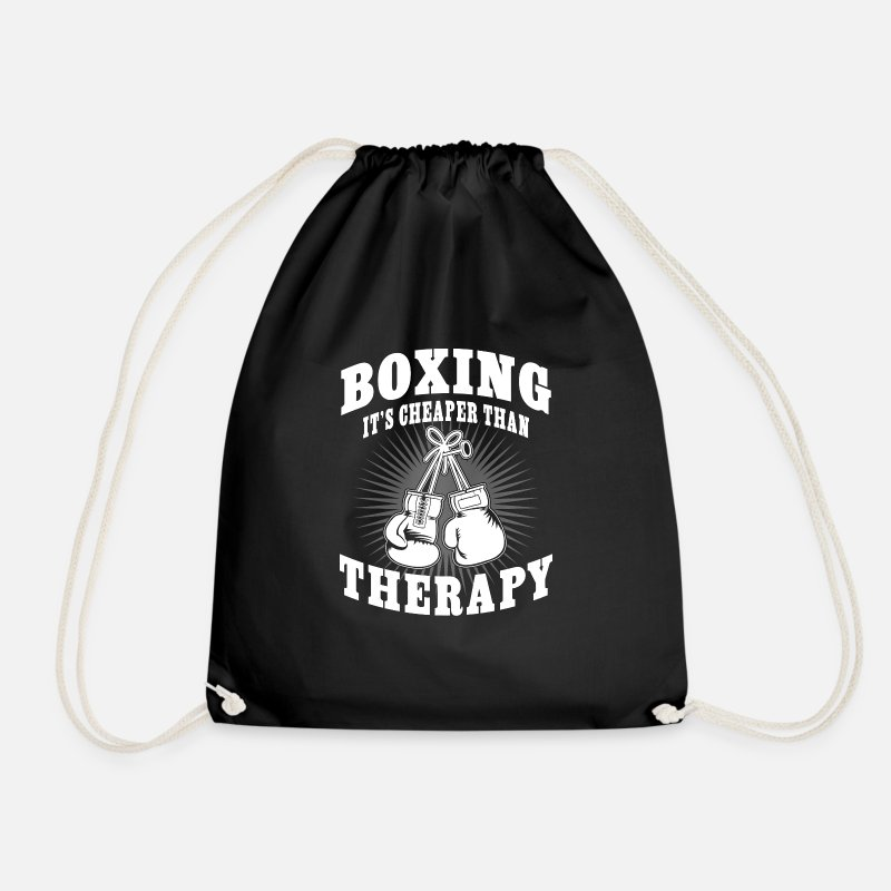 Kickboxing Bags & Backpacks - Boxing it's cheaper than Therapy - Drawstring Bag black