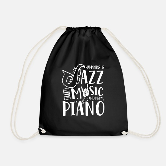 Father's Day Bags & Backpacks - Happiness is Jazz Music and my Piano  - Drawstring Bag black