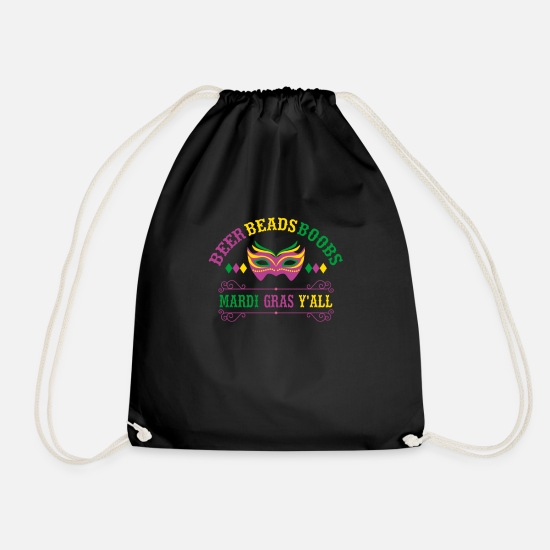 Shrovetide Bags & Backpacks - Beer Beads Boobs Mardi Gras Y'All Gift - Drawstring Bag black
