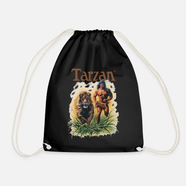 Tarzan Running Lion Through Wilderness - Drawstring Bag