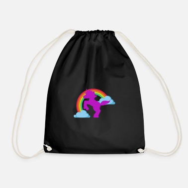 Rainbow Unicorn Unicorn on the Rainbow - unicorn at the rainbow - Drawstring Bag