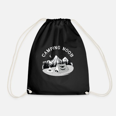 Camping Noob, Newbie, Tent, Mountain, Campfire - Drawstring Bag