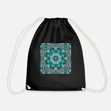 KALEIDOSCOPE ABSTRACT LILIES 2 FLOWERS - Drawstring Bag