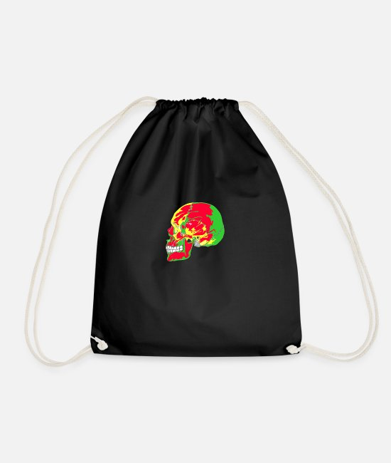 Red Bags & Backpacks - skull red, yellow, green - Drawstring Bag black