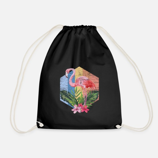 Gift Idea Bags & Backpacks - Flamingo pink flamingo pink animal bird gift - Drawstring Bag black