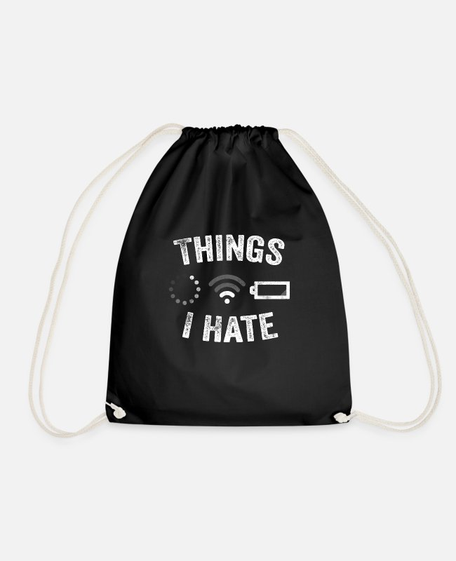 Video Game Players Bags & Backpacks - Things I Hate Funny Video Gamer Gift Programmer - Drawstring Bag black