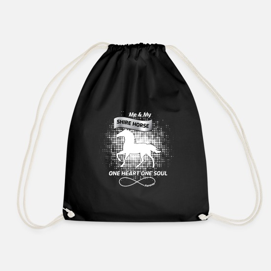 Horse Fan Bags & Backpacks - Shire horse riding horses - Drawstring Bag black