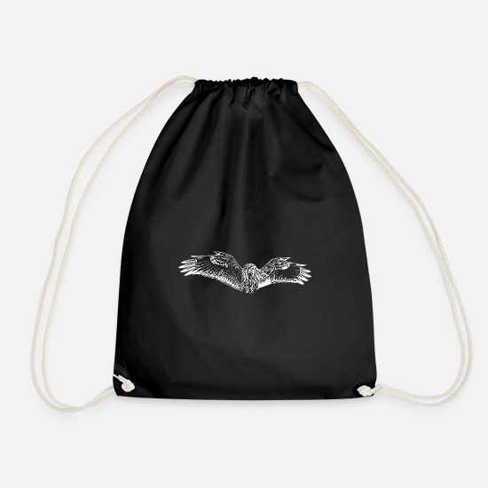 Flight Bags & Backpacks - Flying eagle owl - Drawstring Bag black