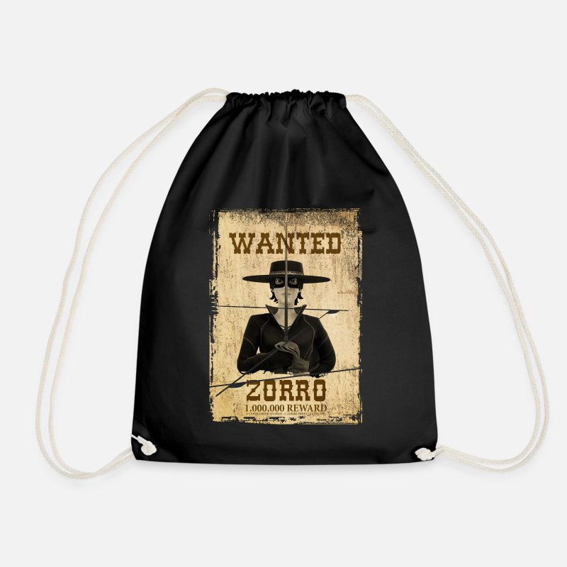 Zorro Chronicles Bags & Backpacks - Zorro The Chronicles Wanted Poster - Drawstring Bag black