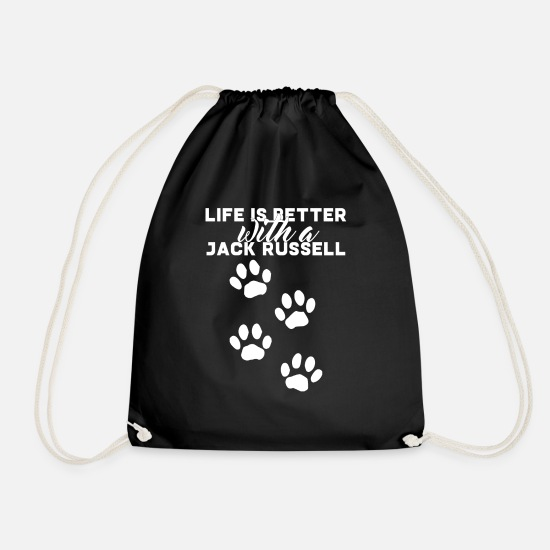 Jack Bags & Backpacks - Dog / Jack Russell: Life Is Better With A Jack - Drawstring Bag black