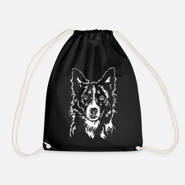 Border Collie BORDER COLLIE Portrait of Wilsign - Drawstring Bag