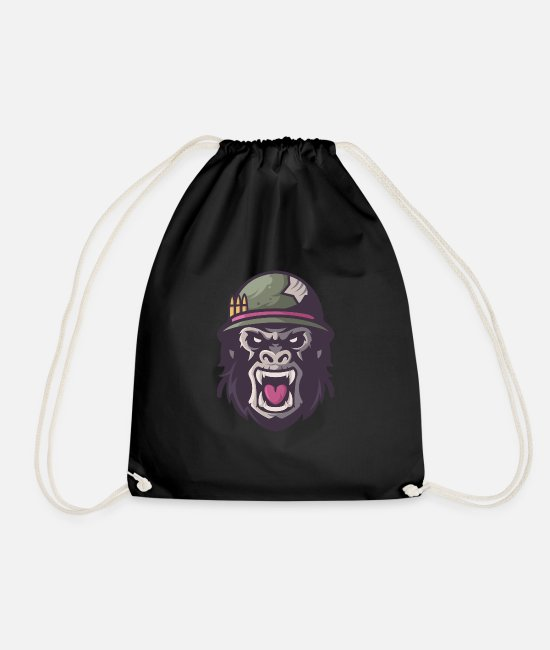Fear Bags & Backpacks - Was Gorilla Scream Aggressive Upset - Drawstring Bag black