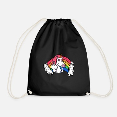 Techno Party Unicorn sticky fingers - Drawstring Bag