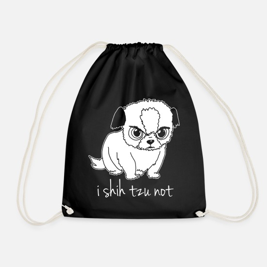 Pet Bags & Backpacks - i shih tzu not - Drawstring Bag black