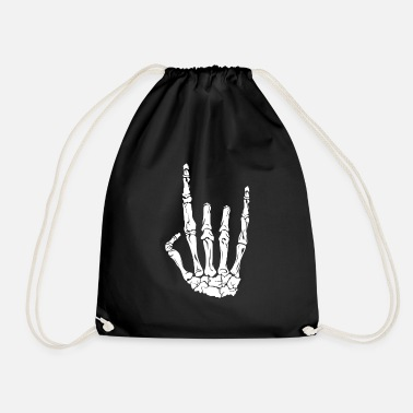 Skeleton Rock Heavy Metal Hand - Drawstring Bag
