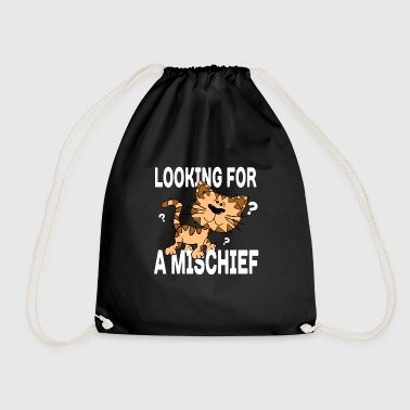 Cartoon cat looking for a mischief - Drawstring Bag