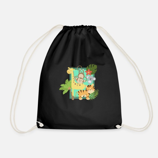 Monkey Bags & Backpacks - Funny jungle animals united - Drawstring Bag black