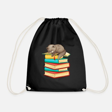 Reading Cat Books Cute Bookworm Reading - Drawstring Bag