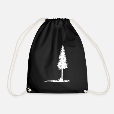 Guitar player under tree (white silhouette) - Drawstring Bag