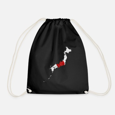 National Japan flag outline polygon Nihon Japanese - Drawstring Bag