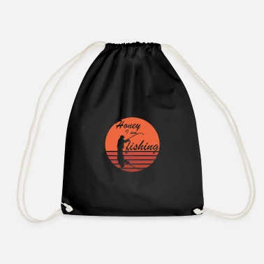 honey iam fishing - Drawstring Bag