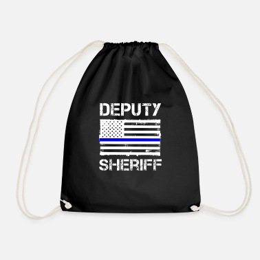 Sheriff Thin Blue Line Deputy Sheriff American Flag Gift - Drawstring Bag