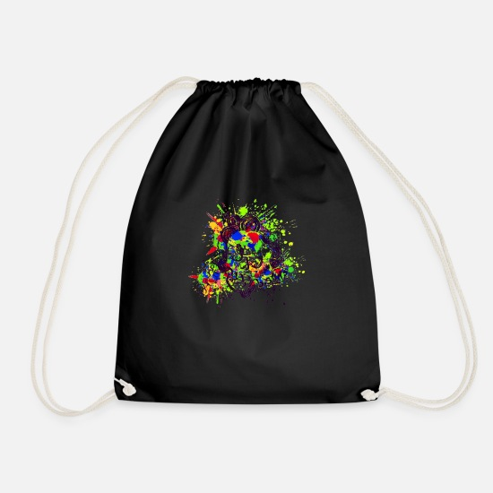 Death Bags & Backpacks - Skull Design (Colour Splash) 03 - Drawstring Bag black