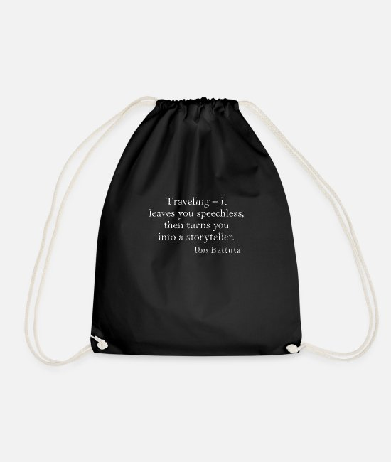Travel Bags & Backpacks - Travel, travel, vacation, Quote Quote Quote English - Drawstring Bag black