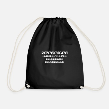 Joystick #FUNNY - VIDEO GAMES CAN HELP gift idea - Drawstring Bag