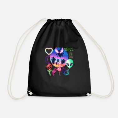 plastic palm trees - Drawstring Bag