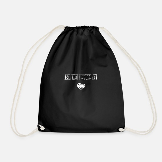 Birthday Bags & Backpacks - AMOUR LOVE HEART WOMAN FEMALE OUTFIT - Drawstring Bag black