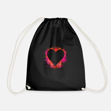 Explosion color intensive explosion - heart with color powder - Drawstring Bag