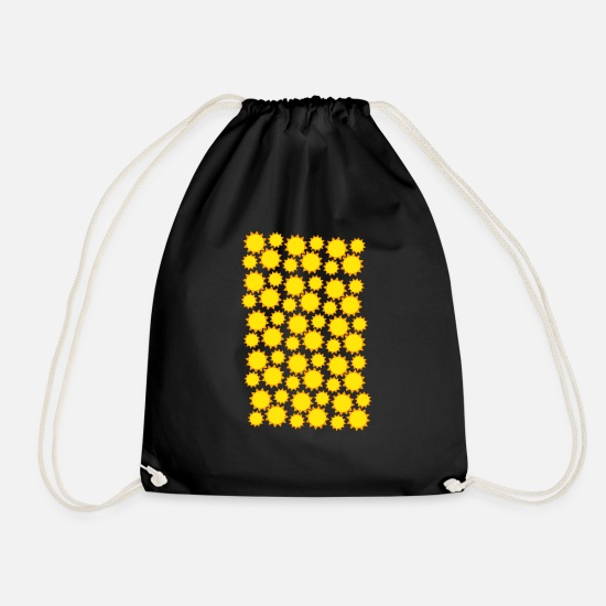 Yellow Bags & Backpacks - yellow sun texture - Drawstring Bag black