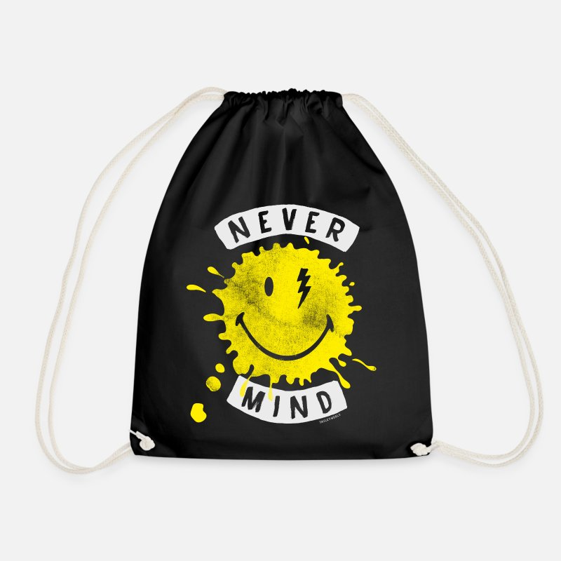 Officialbrands Bags & Backpacks - SmileyWorld Never Mind Splash Smiley - Drawstring Bag black
