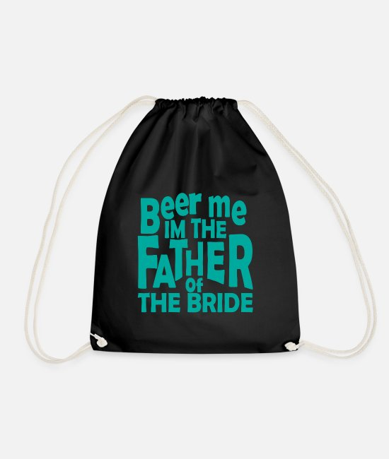 Stag Bags & Backpacks - Father bride wedding saying gift - Drawstring Bag black